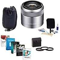 Sony 30mm F/3.5 E-mount NEX Camera Lens, Silver Bundle with 49mm Filter Kit (UV/CPL/ND2), Medium Lens Case, Cleaning Kit, Pro Software Package