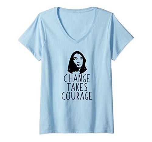Womens CHANGE TAKES COURAGE AOC Alexandria Ocasio-Cortez Meme Gift V-Neck ()