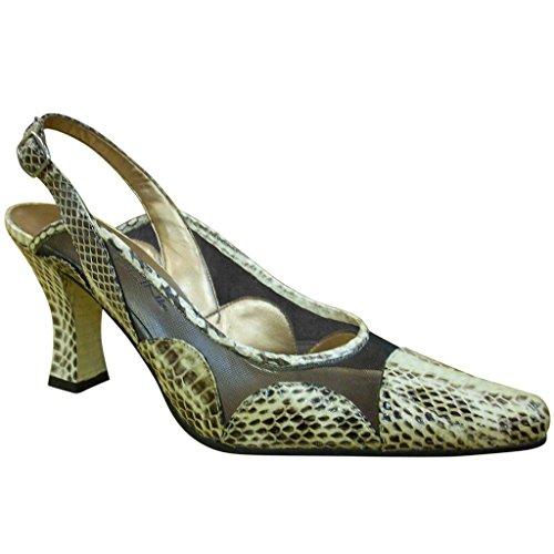 Bellini Women's Rowdy492 Black & White Low Heel Sling Back Shoes-8.5
