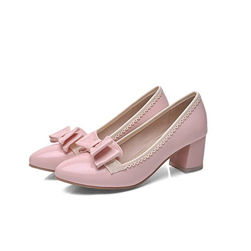 VogueZone009 Women's Assorted Color Pu Kitten Heels Pointed Closed Toe Pull On Pumps-Shoes Pink 2Wpdi