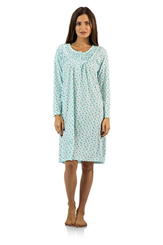 Casual Nights Women's Cotton Blend Long Sleeve Nightgown - Floral Pintucked Green - - In Round Order Sizes