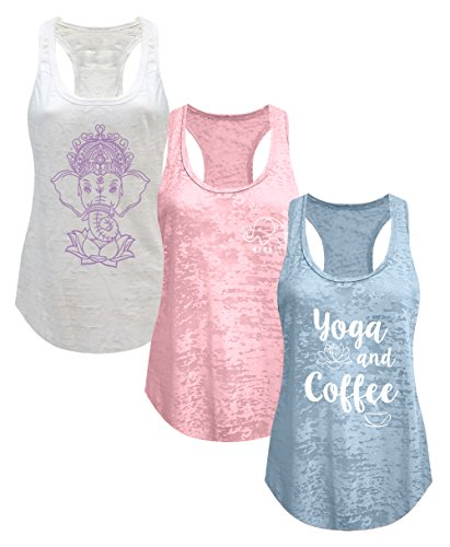 Coffee Blush (Tough Cookie's Women's Burnout Elephant Lotus Small Yoga Coffee Tank Top 3 Pack (X-Large - LF, Dusty Blue/White/Blush Pink))