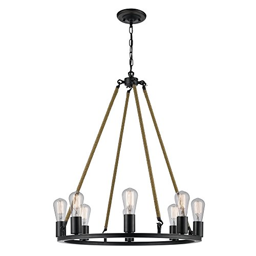 - Novogratz Myrcella 8-Light Twine Wrapped Round Vintage Chandelier, Oil Rubbed Bronze Finish