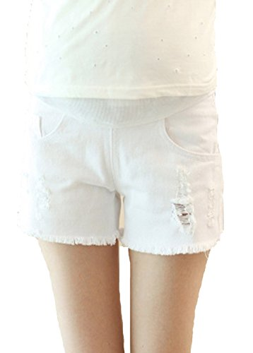 Happyyip Womens Summer Casual Blue Secret Fit Belly Roll Hem Maternity Shorts