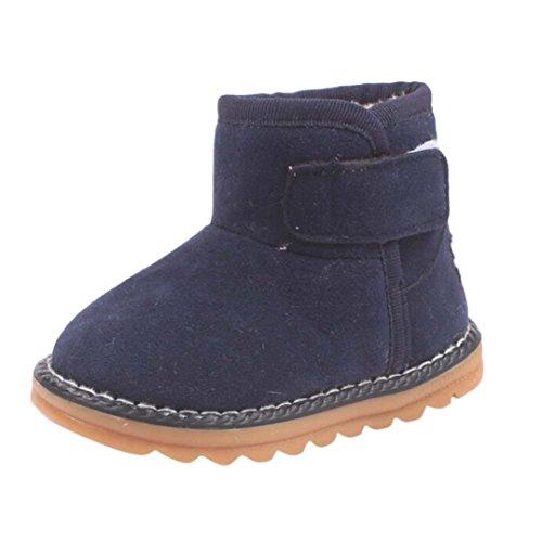 Zapatos de Niños Niños Niñas de piel, Koly botas invierno gruesa de nieve (21_cm, Red) azul