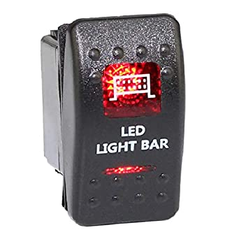 Red Light Marine Rocker On//Off Switch 20A 12V water proof off road truck jeep