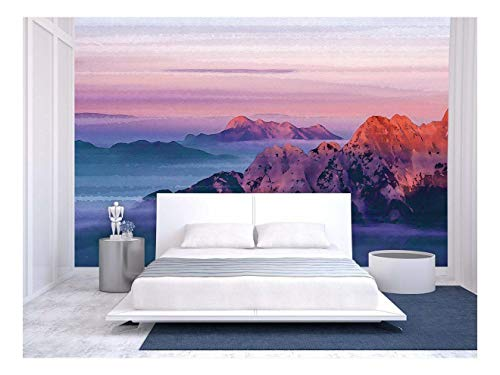 Large Wall Mural Oil Painting Style Landscape with Red Mountains at The Sunset Time Vinyl Wallpaper Removable Wall Decor