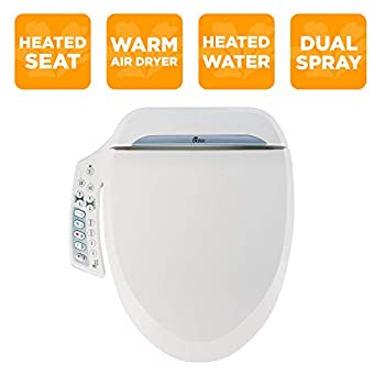 Image of Home Improvements Bio Bidet Ultimate BB-600 Advanced Bidet Toilet Seat, Elongated White. Easy DIY Installation, Luxury Features From Side Panel, Adjustable Heated Seat and Water. Dual Nozzle Has Posterior and Feminine Wash