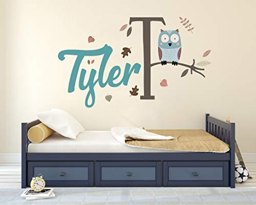 Personalized Name Wall Decal - Pretty Owl on a Branch Wall Decal Vinyl Sticker Nursery for Home Bedroom Children
