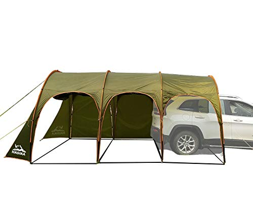 Hasika Waterproof Portable 8-10 Person Family Camping Tunnel Tent Top Canopy Cover for Car Trailer BBQ 15x10 ft
