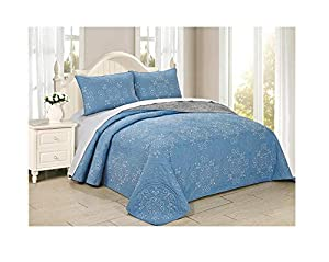 All American Collection New 6pc Circle Reversible Embroidered Bedspread/Quilt Set (Queen 3pc, Blue)