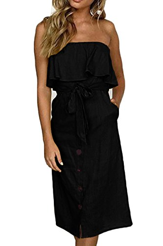 ioiom Women Off Shoulder Midi Dress Sexy Off The Shoulder Frill Overlay High Waist Casual Dress with Self Tie Belt Black L