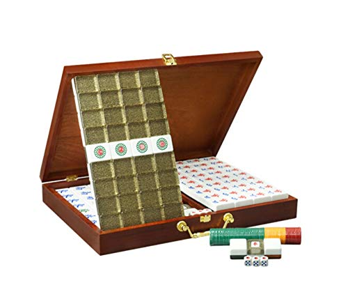 Achang Acrylic Mahjong Home Travel Leisure Entertainment Toy Black Gold Collection Wooden Storage Box