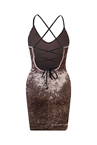 Bewish Femmes Sexy Sangle Profonde Col V Laçage Ajustable Cravate Robe Moulante Dos Nu