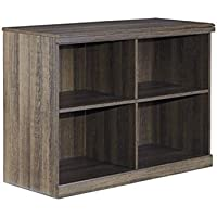 Ashley Furniture Signature Design - Juararo Bookcase - Vintage Style Shelf - 4 Cubbies - 28 in - Dark Brown