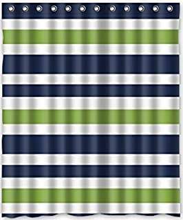 Brand New Navy BlueGreen And White Stripe Waterproof Polyester Bath Shower Curtain60