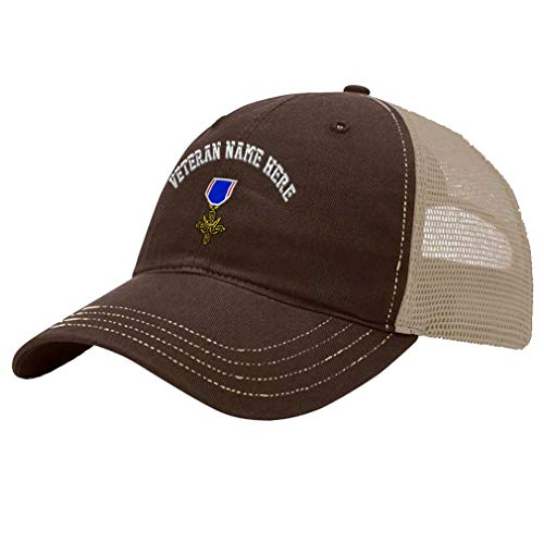 Custom Trucker Hat Richardson Distinguished Service Cross Embroidery Veteran Cotton Soft Mesh Cap Snaps - Brown/Khaki, Personalized Text Here