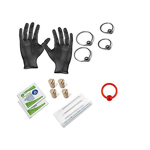 BodyJewelryOnline 15-Piece Ear Piercing Kit - Includes (4) 20ga 316L Earrings, (4) Needles, (4) Corks, (2) Alcohol Wipes and a Pair of Gloves - PK012
