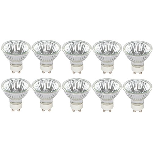 Halogen GU10 50W Spotlight 120V MR16 with Glass Cover by Simba Lighting (10 Pack) Dimmable Flood for Accent, Recessed, Track Lighting, 30° Beam Angle, Twist-N-Turn Twistline Base, Warm White 2700