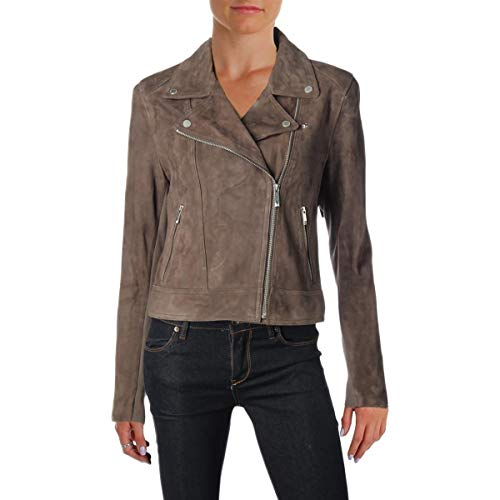 s Santana Fall Leather Motorcycle Jacket Gray M ()