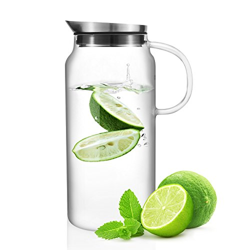 Veesun Glass Water Pitcher with Stainless Steel Lid for Flavorful Infusions 1.3L (44 oz) (Big Plastic Margarita Glasses)