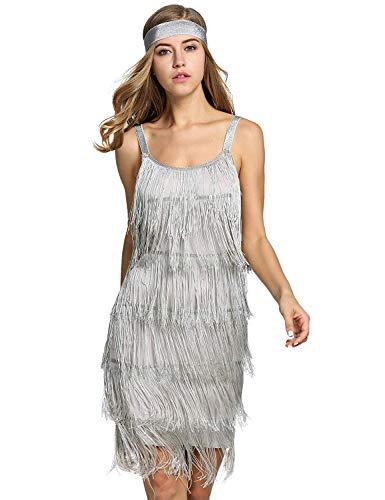 Robert Reyna Nice Women's Flapper DressVintage 1920s V Neck Beaded Fringed Lace Tassels Hem Flapper Dress,Large,A-Gray -