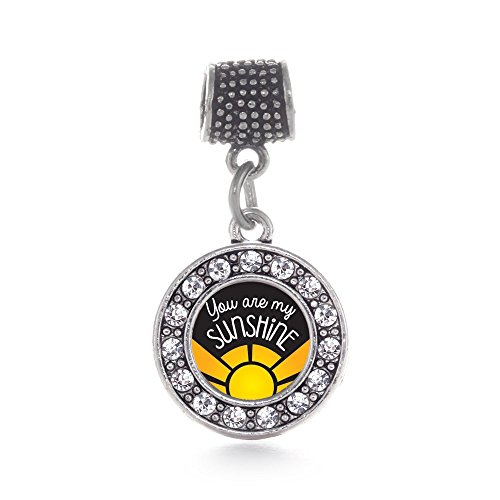 Inspired Silver You Are My Sunshine Circle Memory Charm Fits Pandora Bracelets & Compatible with Most Major Brands such as Chamilia, Murano, Troll, Biagi and other European Bracelets (Pandora Charm Fits Troll Chamilia)