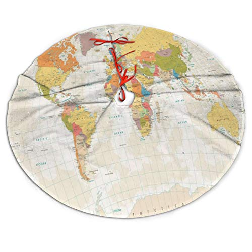 Perfectly Customized World Map Christmas Tree Skirt 48 inch Plush Faux Fur Xmas Tree Skirt Mat for Halloween Holiday Party Home Decoration Gift Indoor ()