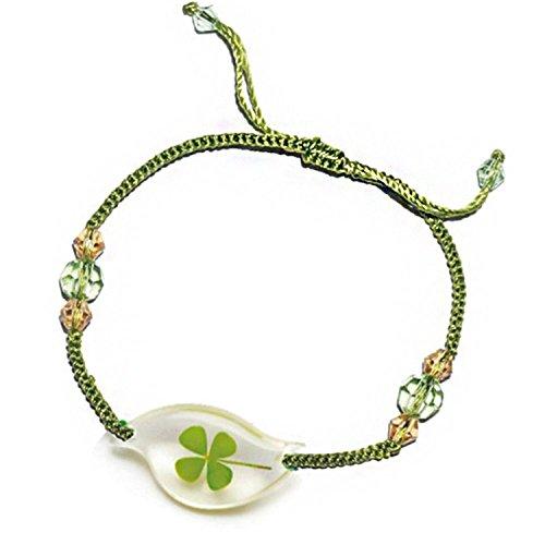 Genuine Four-leaf Lucky Clover Shamrock Crystal Amber Bracelet, Adjustable Green String Size 4