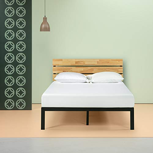 Zinus Paul Metal and Wood Platform Bed with Wood Slat Support, Full (Bedroom Oak Bed Frame)