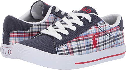 (Polo Ralph Lauren Kids Unisex Easten II (Little Kid) Navy/Multi Plaid/Canvas/Red Pony 12 M US Little Kid)