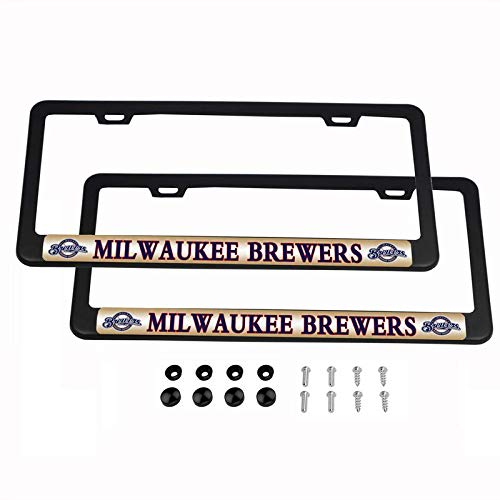 2PCS MLB Lightweight License Plate Frames Black Matte Powder Coated Aluminum - Milwaukee Brewers
