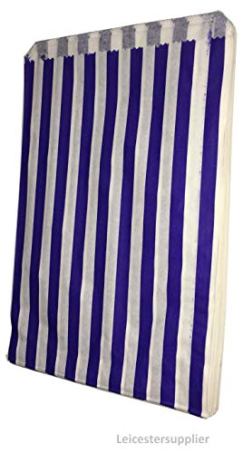 Tezraftaar 100 5″x7″ Blue Candy Stripe Paper Bags Sweet Paper Party Bags Gift Shop Wedding Cart
