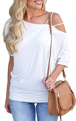 ECOWISH Womens Cold Shoulder Spaghetti Strap Short Sleeve Off One Shoulder Casual T Shirts Blouses Tops White XL
