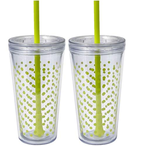 Copco Minimus Double Wall Insulated Tumbler with Removable Straw, 24 oz, Set of 2 (Green Mini ()