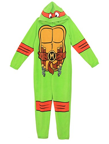 Briefly Stated Men'sTeenage Mutant Ninja Turtles One Piece Pajama Suit-Green-M (Ninja Turtle Onesie Mens)