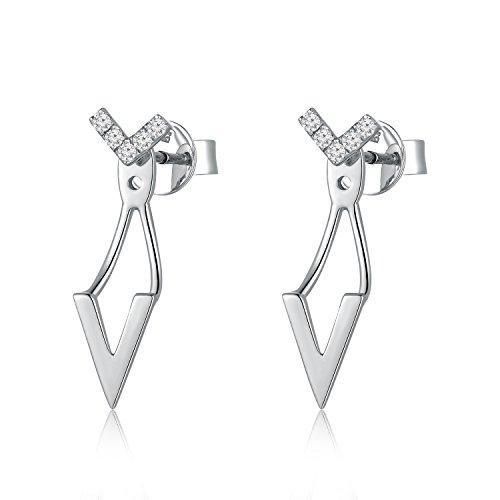 Or blanc 18ct 750avec diamant Forme en V avant/arrière Boucles d'oreille à tige (0,07carat au total, G-H Couleur, Vs1-si2Clarté) Femme Bijoux Cadeau Saint Valentin