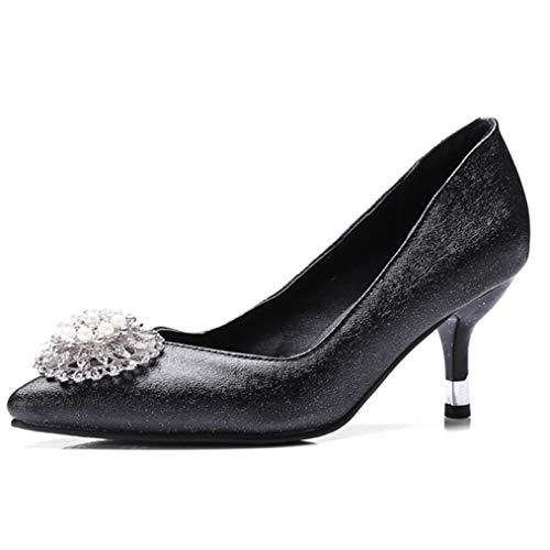Women's Mid Heel Dress Pump Classic Flower Glitter