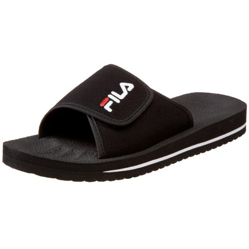 Fila Men's Slip On Sandal,Black/White/Red,13 M - Men Size 4