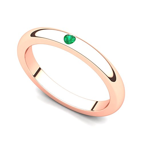 - 14k Rose Gold Bezel set Emerald Band Ring, 7.5