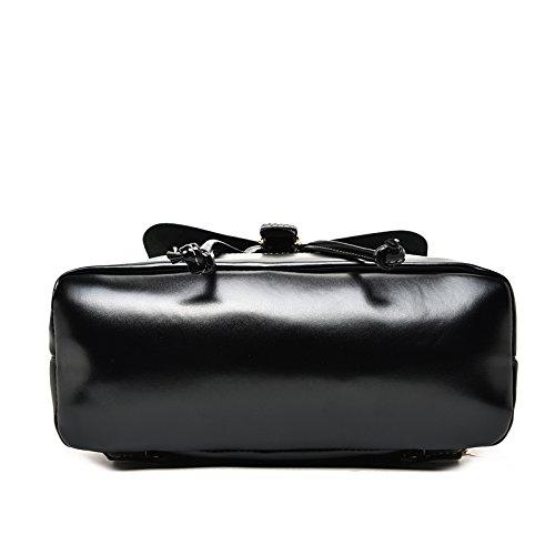 Vintage Black Leather Bag 3 Sets For Purses Girls Women's With Fashion Backpacks Teenage Shoulder OwqB0fw6g