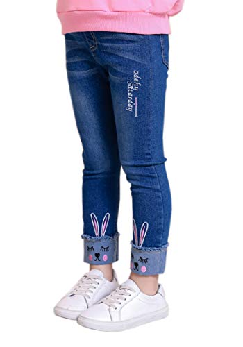 (Big Girls Kids Distressed Ripped Hole Teens Jean Blue Cat Slim Denim Pants (7-8 Years, Jean Blue Rabbit))