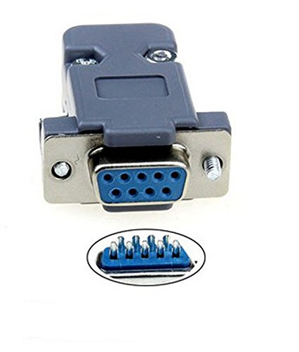 - 9 Pin Female D-Sub Socket Solder Connector RS232 Serial DB9 and Grey Hood