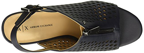 Navy Women's Heel Perforated Toasted Sandal Armani Exchange Almond Mule CHqxUU