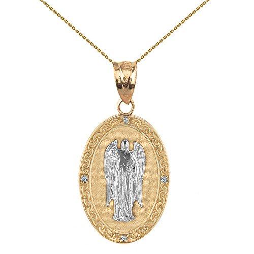 Medallón ovalado de oro amarillo macizo de 14 quilates con diseño de arcángel San Gabriel (25 mm)