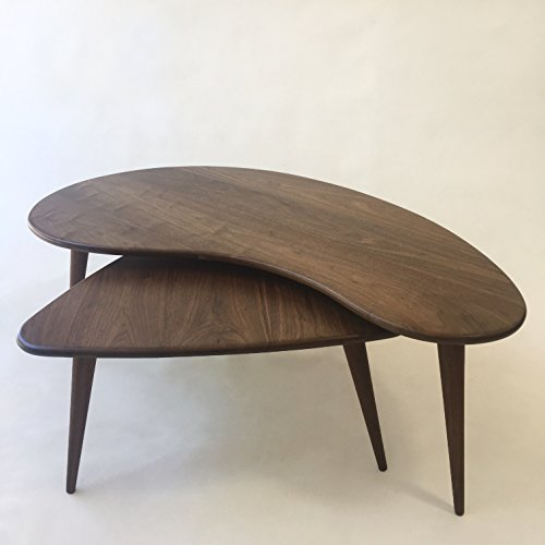 Nesting Kidney Bean + Guitar Pick Coffee Tables - Mid-Century Modern - Atomic Era Design In Solid Walnut with Solid Walnut Tapered (Eames Era Design)