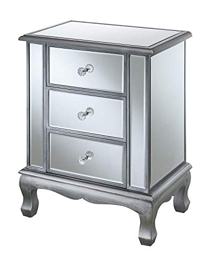 (Convenience Concepts 413359S Gold Coast Accent End Table, Antique Silver/Mirror)