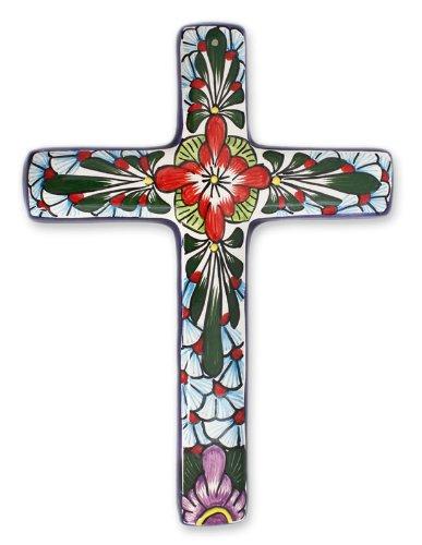 NOVICA Hand Painted Talavera Large Ceramic Wall Cross, Multicolor, 'Jerusalem Rose'