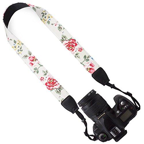 DSLR / SLR Camera Neck Shoulder Belt Strap - Wolven Canvas DSLR/SLR Camera Neck Shoulder Belt Strap for Nikon Canon Samsung Pentax Sony Olympus or Other Cameras - White (Digital Camera Strap)