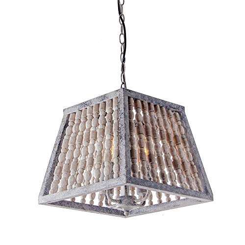 Giluta Trapezoid Bead Chandelier Retro Style Pendant Lamp Antique Gray Ceiling Lamp Bedroom Living Room Chandelier Light Fixtures 4 Lights (C0044)